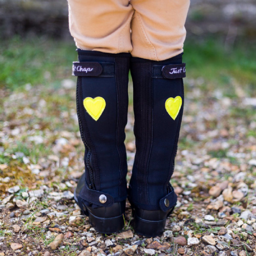 Just Chaps in Black with Yellow Hearts